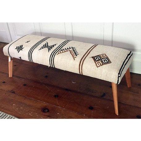 Vintage Rug Bench w/ Wood Legs