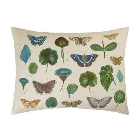 A Leaf & Butterfly Study Linen Cushion John Derian