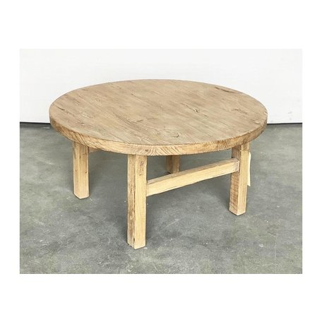 Vintage Wood Round Coffee Table