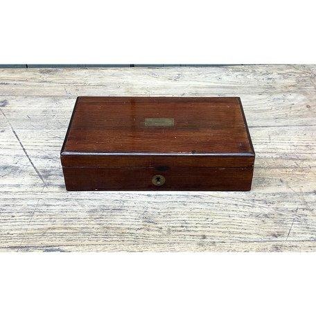 Vintage Small Mahogany Box w/ Brass