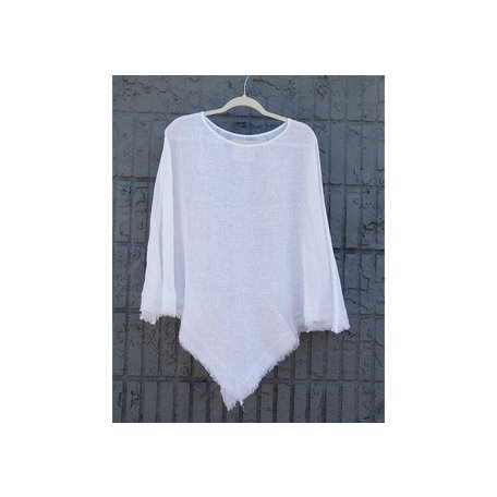 Linen Sheer Poncho in White, One Size