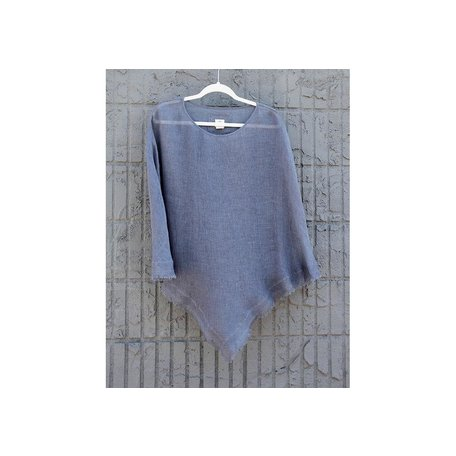 Linen Sheer Poncho in French Blue, One Size
