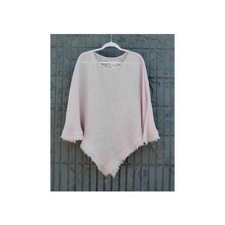 Linen Sheer Poncho in Dusty Rose, One Size