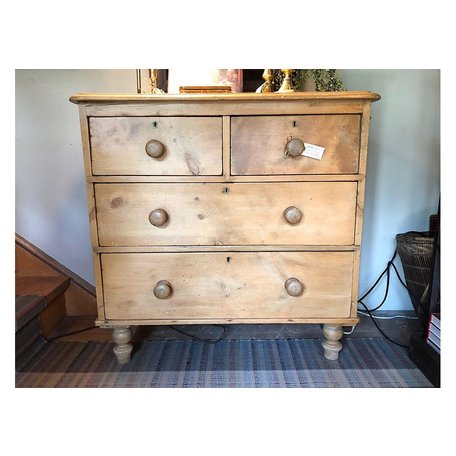 Antique English 4 Drawer Pine Chest