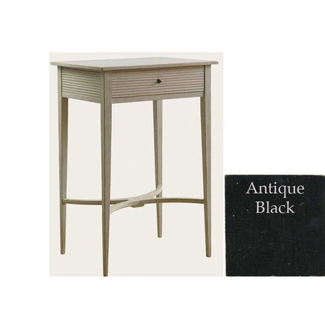 Gustavian Nightstand With Carved Drawer Black
