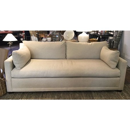 "Cornelia 88"" Upholstered Sofa in Wheat w/ Down Blend Cushions and Bench Seat Chocolate Finish"