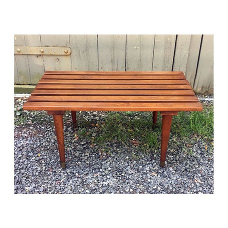 Vintage Mid Century Slatted Bench