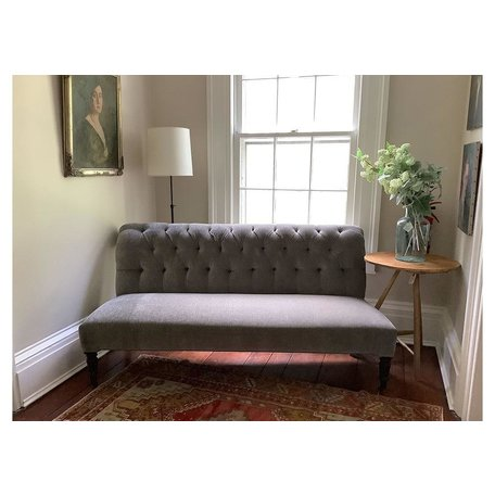 Wanda Tailored Armless Loveseat In Everest Gunmetal by Lee Industries