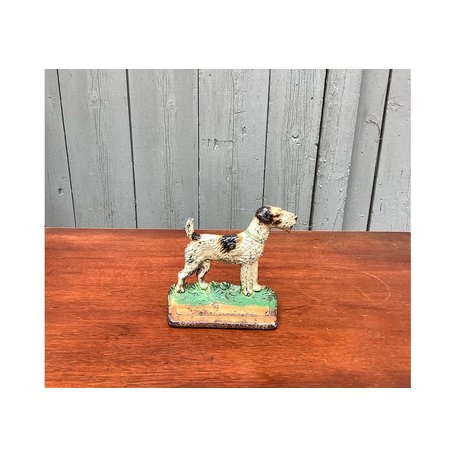 Vintage Cast Iron Terrier Doorstop w/ Original Paint