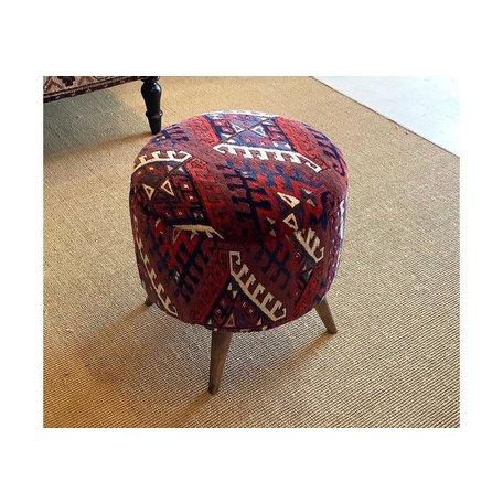 Vintage Turkish Rug Stool, Small 0419C
