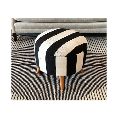 Vintage Black and White Striped Ottoman 500019-A