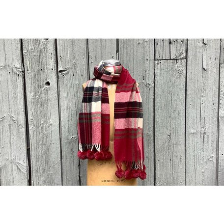 Plaid Scarf W/Pom Pom Red