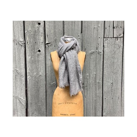 Vintage Raw Rough Fringe Scarf Grey