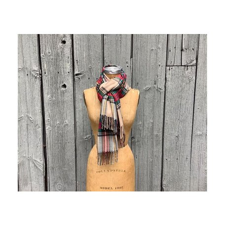 Cashmere Blended Plaid Scarf, Tan