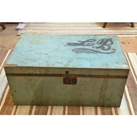 Vintage 19th Century NE Trunk w/Original Blue Paint