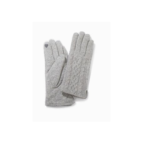 Half Knitted Cable Texting Gloves in Grey