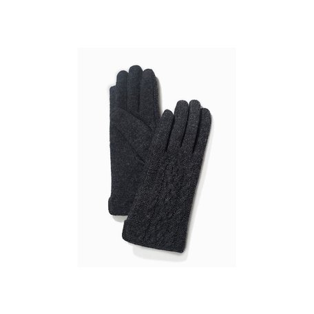 Half Knitted Cable Texting Gloves in Black