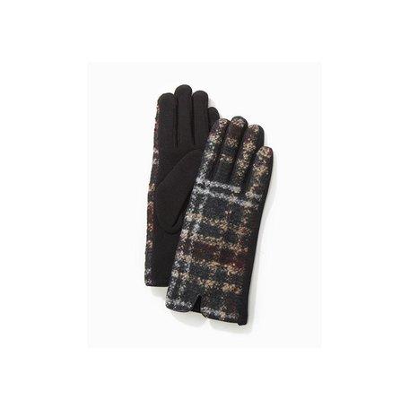 Tweed Plaid Texting Gloves in Black