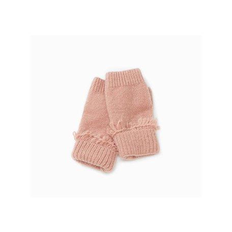 Cashmere Blended Fingerless Gloves in Blush