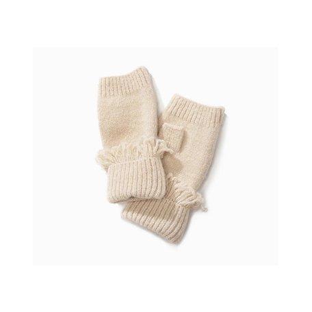 Cashmere Blended Fingerless Fringe Gloves in Ivory