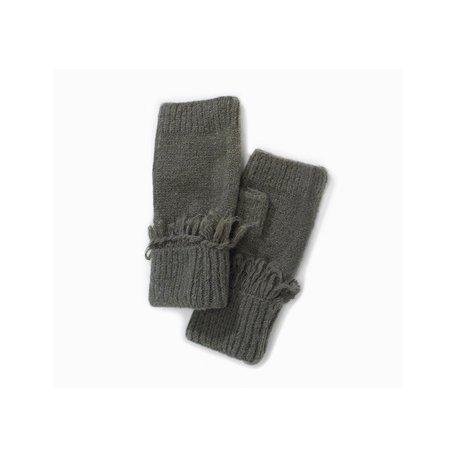 Cashmere Blended Fingerless Fringe Gloves in Vivi Green