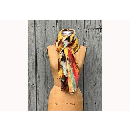 Mist Watercolor Scarf in Lime