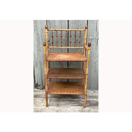 Vintage Bamboo Three Tier Shelf