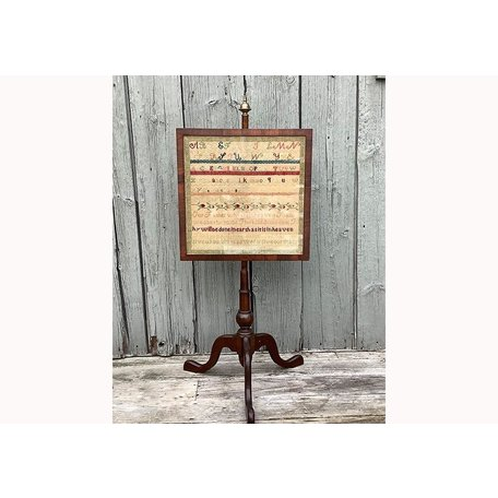 Antique Sampler on Stand<br /> (History on Back)