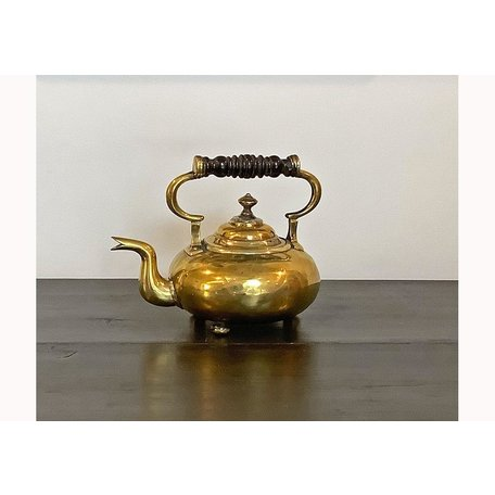 Brass Tea Pot w/ Turned Wood Handle & 3-Ball Feet c. Mid 1800's