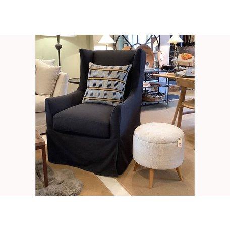 Emery Slipcovered Swivel Chair In Onyx w/ Down