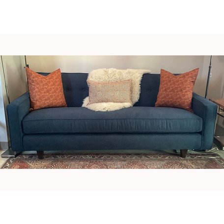 "Darby 80"" Sofa In Indigo w/ Down Fill Bench Seat Chocolate Finish"
