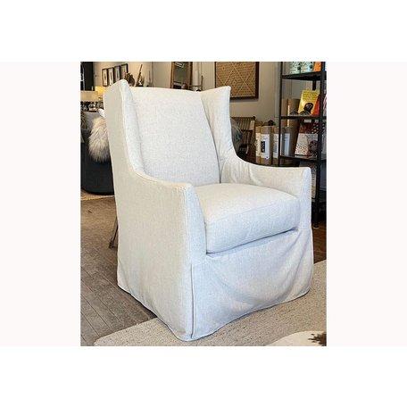 Emery Slipcovered Swivel Chair In Straw w/ Down