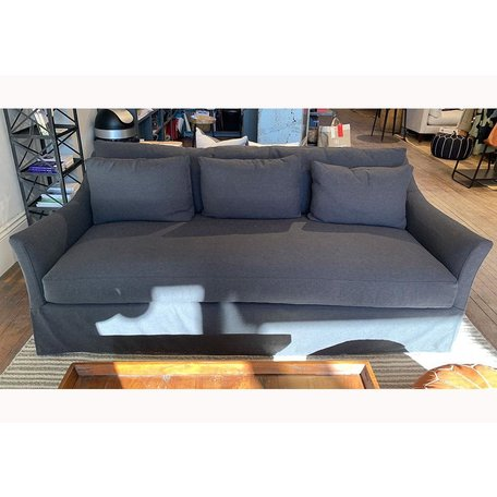 """Mallory 85"""" Sofa Slipcovered in Onyx w/ Down Blend and Espresso Finish"""