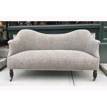 Dromedary Loveseat in 1920's Woven European Linen by John Derian for Cisco Brothers