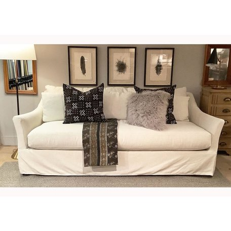 "Mallory 85""Sofa Slipcovered In Ivory w/ Down Blend and Esspresso Finish"