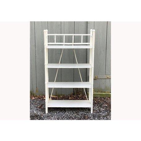 Vintage White Bamboo Shelf