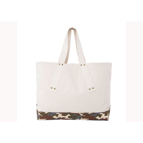 Canvas Tote w/ Grommets and Light Camo Trim