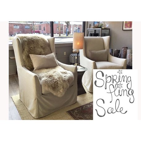 Emery Slipcovered Swivel Chair In Straw w/ Down