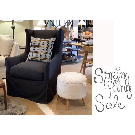Emery Slipcovered Swivel Chair In Onyx w/ Down