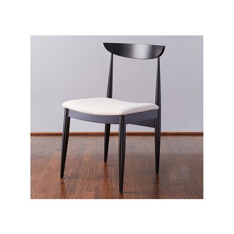 Ellie Dining Chair In Black w/ Linen Seat