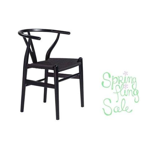 Eliza Side Chair w/ Rush Seat in Black