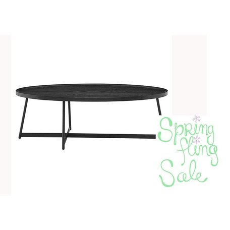 """Nicole 47"""" Oval Coffee Table in Black"""