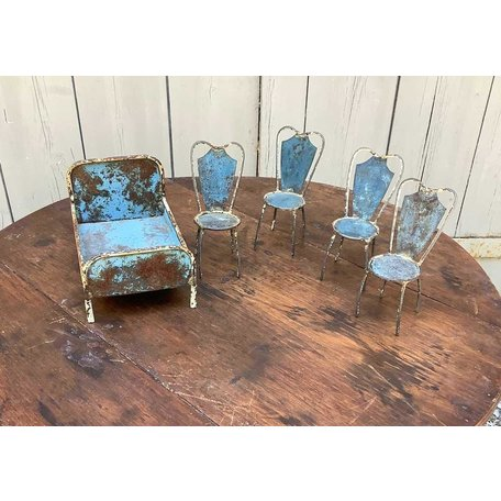 Vintage Early French Painted Metal Child's Bed and Four Chairs