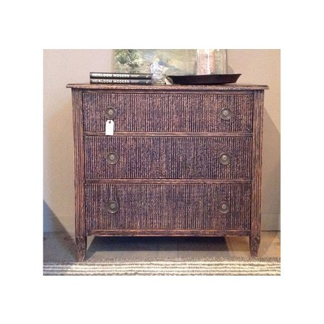 Gustavian Bureau with Ribbed Drawers in Antique Black