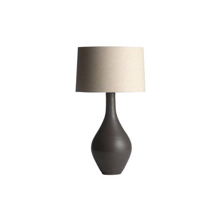 Warren Pottery Lamp With Linen Barrel Shade Gray