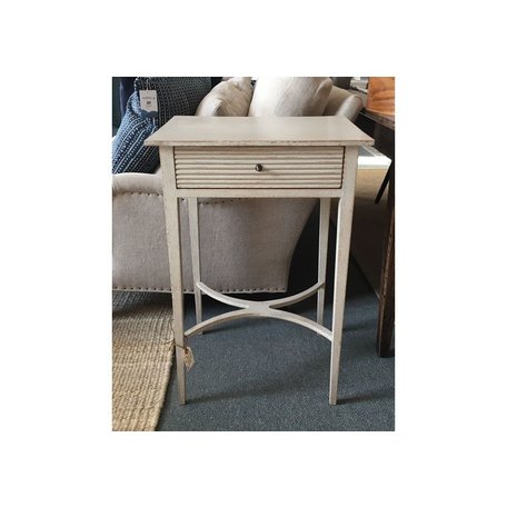 Gustavian Nightstand with Carved Drawer in Gustavian Grey