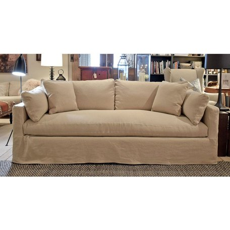 "Cornelia 88"" Slipcovered Sofa in Wheat w/Down Blend Cushions and Bench Seat"