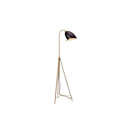 Sommerard Floor Lamp in Hand Rubbed Antique Brass w/ Black Shade