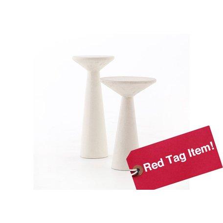 Faye Concrete Accent Tables in White, Set of 2