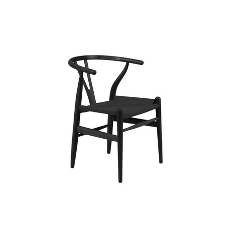 Eliza Side Chair w/ Rush Seat in Black